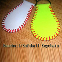 Wholesale personalized leather key chain - Baseball Softball Key Fobs Key Chain, Personalized Lanyard Sports Key Chain