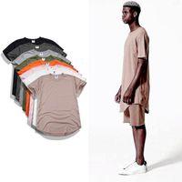 Wholesale Urban Mens T Shirts - 2017 Kanye West Extended T-Shirt Men Summer Curved Hem Longline Hip Hop Tshirts Urban Blank Mens TShirts Justin Bieber Clothes