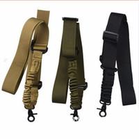 Wholesale Gun Sling Wholesale - Multi-function Nylon Adjustable Tactical single point Bungee Rifle Gun Airsoft Sling hunting gun Strap Army Green Black