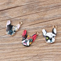 Wholesale 16mm Cartoon - Free Shipping 20pcs New Arrival Enamel Cartoon Colorful Animal Dog Head Zinc Alloy Charm Pendant DIY Jewelry Accessories 18*16mm