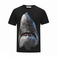 Wholesale Sharks Shirt - Mens brand designer shark black t shirts luxury cotton short sleeve t shirt men