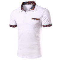 Wholesale Mk Shirts - Wholesale- MK Fashion T Shirt Men 2017 New Summer Male Print Lapel Short Sleeve Tops Tee L XL 2XL Mens Business Shirts Plus Size