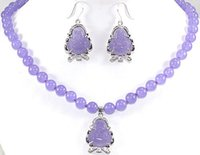 Wholesale Silver Jade Buddha Pendants - Beautiful nice jade beads jewelry set Purple Jade Chinese Buddha Silver Plating Necklace Pendant and Earrings, the best gift for the love