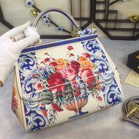Wholesale European Style Porcelain - 2017 winter flowers of blue and white porcelain color printing Sicily Handbag Shoulder Messenger leather bag medium