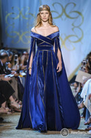 Wholesale long black velvet cape - 2017 Fall Winter Royal Blue Evening Dresses Off The Shoulder With Cape Sleeve Gold Sequins A Line Formal Prom Party Gown Custom Made