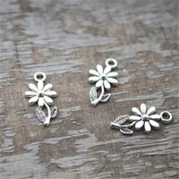 mini takılar toptan satış-100 adet mini SUNflower charms gümüş ton mini ayçiçeği charms kolye 10x19mm