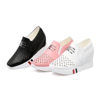 Wholesale Hidden Elastic - Wedge Hidden Heels Ankle Shoes For Women Platform Heels Spring Autumn Flat Shoes For Women white black pink size33-43