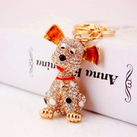 Wholesale Toys Full Men - Exquisite Keychains For Women Full Rhinestone Keyrings Tops Metal Crystal Key Chains For Car Key Dogs Toys