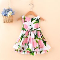 Wholesale Cute Chinese Girls - Girl Summer Dress Flower Sleeves Dress Baby Clothings Beach Cute beautiful Lovely TUTU Dress high quality Free shipping