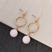 Wholesale Chain Connect Ring - Dangle Chandelier hoop pearl earring with alloy metal hoop connect with plastic pearl jump ring chain disc top Carol Bijou jewelry post