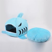 Wholesale Small Cushions - Brushed Fabric and Oxford Novelty Shark Mouse Shape Soft Doghouse Pet Sleeping Bed Small Dog Removable Cushion