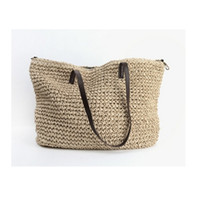 Wholesale Summer Weaved Straw Totes - Wholesale-Summer Women Durable Weave Straw Beach Bag Feminine Linen Woven Bucket Bag Grass Casual Tote Handbags Knitting Rattan Bags Hobos