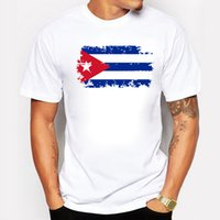 Wholesale Cheer Tops - Wholesale- Cuba Fans Cheer Tshirts For Men Cuba National Flag Design Tee Shirts Short Cotton T-shirts Nostalgic Style Summer Top