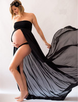 Wholesale Pregnancy Props - Maternity Strapless Chiffon Dress Maternity Photography Props Pregnancy Photo Shoot Split Pregnant Full-Length Dress