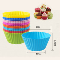 Wholesale Silicone Baking Molds Fondant - 7cm Muffin Cupcake Round Silicone Cups For Cupcake, DIY Baking Fondant Muffin Cake Cups Molds (Mix Random Color)