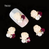 Wholesale Studs For Nail Art - Wholesale- 10Pcs Lot 3D Beige Flower Design Strass Nail Art Studs Alloy Pearl Rhinestones Decorations For Nails TN181