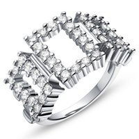 Wholesale platinum jewelry sale resale online - Hot Sale Big Woman Silver Ring Bijou Jewelry Platinum White Gold Plated Crystal Engagement Anel Wedding Rings J609