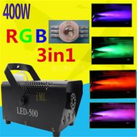 Wholesale Disco Smoke - Mini 400W LED RGB 3in1 Wireless remote control fog machine pump dj disco smoke machine for party wedding Christmas stage fogger