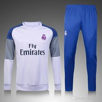 Wholesale Hoodie Trousers - 16 17 2016 Real Madrid white trousers sweater tracksuit Sportswear training Suits mens Clothes Tracking suits Male Hoodies United