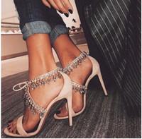 Wholesale Lace Bling Heels - 2017 Bling Crystal Fringe Suede Women Sandals Jewel Embellished Gladiator Sandals Women High Heels Pumps Wedding Shoes Woman