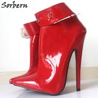 "Wholesale Lockable Dresses - Extrem Heels Dress Shoes Lockable 18Cm 7""High Heel Shoes Woman Dance Party Shoes Ankle Strap Women Sexy Fetish Thin Heels Padlocks Pumps"