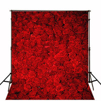 3D Red Roses Photo Fond d'écran Romantique Flower Wall Backdrop Studio de mariage Photo Shooting Valentines Photographie Backdrops 10x10ft