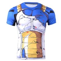 Wholesale Top Shirt Printing Machine - Wholesale- 2016 New Fashion Compression Men T-shirt Blue Dragonball Character T-shirt Hand-painted Muscle Machine for Mens Top S-4XL