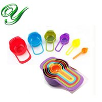 Wholesale Big Baking Cups - 6 sized Plastic Measuring Cups and Spoons set rainbow colors nested tablespoon big coffee scoops kitchen scales gadgets bake tools for child