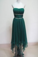 Wholesale Red Strapless High Low Dress - Beaded Chiffon High Low Bridesmaid Dresses 2018 Modest Bridesmaid Gowns New Green Country Wedding Party Dresses
