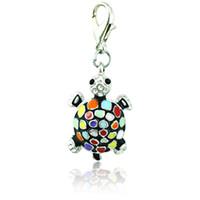 Wholesale silver plated charms bulk - Fashion Bulk Charms 6 Color Rhinestone Enamel Tortoise Lobster Clasp Animal DIY Pendants Jewelry Making Accessories