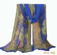 bufandas de gasa vintage al por mayor-Al por mayor-estilo nacional bufanda de verano de las mujeres de la vendimia patrón tradicional gasa bufanda larga colores dama chal y bufandas casual