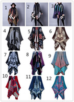 Wholesale Warm Ponchos For Women - Women's scarves winter Warm scarfs fashion Ladies scarf shawls blanket Women scarf coat oversized Plaid Scarf Shawls Brand for women