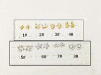 cuivre zircon platine achat en gros de-Platine Plaqué Or 24K Plaqué Micro Zircon Boucles D'oreilles En Cuivre Boucles D'oreilles De Bijoux En Gros 1 # 2 # 3 # 4 # 5 # 6 # 7 # 8 #