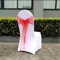 Wholesale Christmas Wedding Chair Sashes - 18*275cm Organza Chair Cover Sashes Sash Sashe Bow Wedding Party decorate Banquet 35 Color White Red