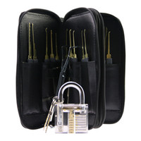 Wholesale Gun Sets - Hight Quality Stainless Steel 24pcs GOSO Lock Picks Lockpick Locksmith Fast Lock Opener with Leather Bag + Transparent Padlock Practice Lock