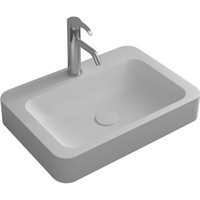 wäsche sinkt groihandel-Square Bathroom Solid Surface Stone Wash Basin Above Counter Matt White Or Glossy Laundry Vessel Sink RS3861