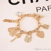 Wholesale Diamond Key Chain Crystal - 2017 Gold over Silver Plated MK Charm Bracelets Jewelry womens Fashion Jewelry Diamond crystal Key lock Charm Aolly Link Chain