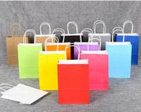 Wholesale Blank Printing Paper - 16*22*8cm Kraft Packaging Paper Bag Festival Gift Package New Blank Gifts Paper Bag Fashion Gift Paper Bags 9 Colors
