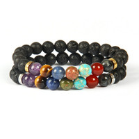 Wholesale High Class Design - New Design High Quality Lava Rock Stone Beads 7 Chakra Healing Stone Yoga Class Meditation Bracelet for Couples Gift