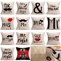 Wholesale Wholesale Cotton Textiles - Creative Cotton Linen Cartoon Couple Mr & Mrs Mickey Mouse Mr Right Throw Pillow Case Home Textile