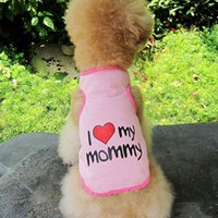 Wholesale Pink Dog Coat Xxl - New Pet Dog Puppy Cat Vest Coat Cute T-Shirt Size S-XXL letter Printed I Love Mom and Dad Four Colors Dog Clothes D-030