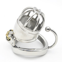 Wholesale Stainless Steel Male Chastity Large - Stainless Steel Male Large Chastity Cage with Base Arc Ring Devices CD124