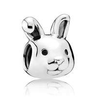 Patriotic, Flags sports rabbit - Authentic Sterling Silver Animal Bead Charm Cute Remarkable Rabbit Beads Fit Women Pandora Bracelet Bangle Diy Jewelry HKA3609