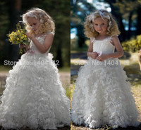 elbiseler kristal organze toptan satış-Sazlar ile Organize Çiçek Kız Elbiseleri Organze Taban Uzunluğu Ruffles Kristal Tüy Kızları Sayfa Elbisesi Konferans Önlükleri Sıcak Satış
