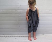 Wholesale Wholesale Baby Jumpsuits - Girls Kids Onesies Rompers Jumpsuits Overalls for Children Baby Cotton Backless Rompers Jumpsuits One Piece Grey Suspender Overalls Clothes