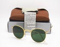 Wholesale Dark Sunglasses Driving - High Quality Fashion Round Sunglasses Mens Womens Designer Brand Sun Glasses Gold Metal Black Dark 50mm Glass Lenses Better Brown box