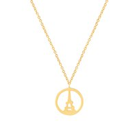 Wholesale Stainless Steel Necklace Eiffel - Wholesale 10Pcs lot 2017 New Fashion Paris Eiffel Tower Choker Necklaces Stainless Steel Jewelry Pendant Simple Circle Gold Chains Necklace