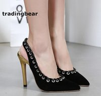 Chaussures sexy Chaussures hautes Talon pointu Sling Back Shoes Black Gold Piercing Edge Pumps Runway show Taille 35 à 40