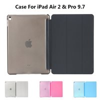 Wholesale Ipad Crystal Slim - Wholesale-Ultra Slim Tri-Fold PU Leather with Crystal Hard Back Smart Stand Case Cover for iPad Air 2 iPad Pro 9.7