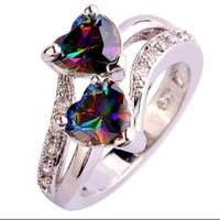 Wholesale Rainbow Crystal Gemstone - Fashion Lover Jewelry Double Heart Cut Rainbow & White Topaz Gemstone Silver Ring crystal Rhinestones Gem Rings Size 6 7 8 9